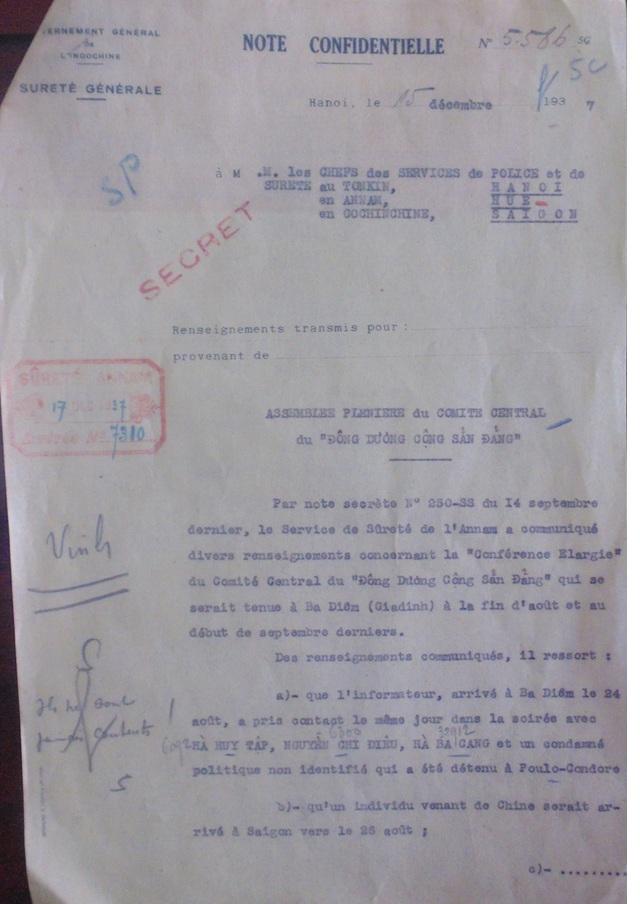 Thông tri mật của Toàn quyền Đông Dương về Hội nghị toàn thể Trung ương Đảng cộng sản Đông Dương Cộng sản